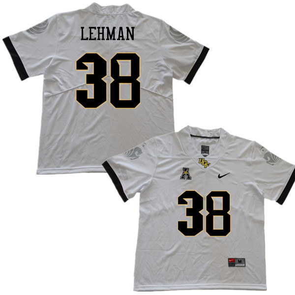 Men #38 Zach Lehman UCF Knights College Football Jerseys Sale-White